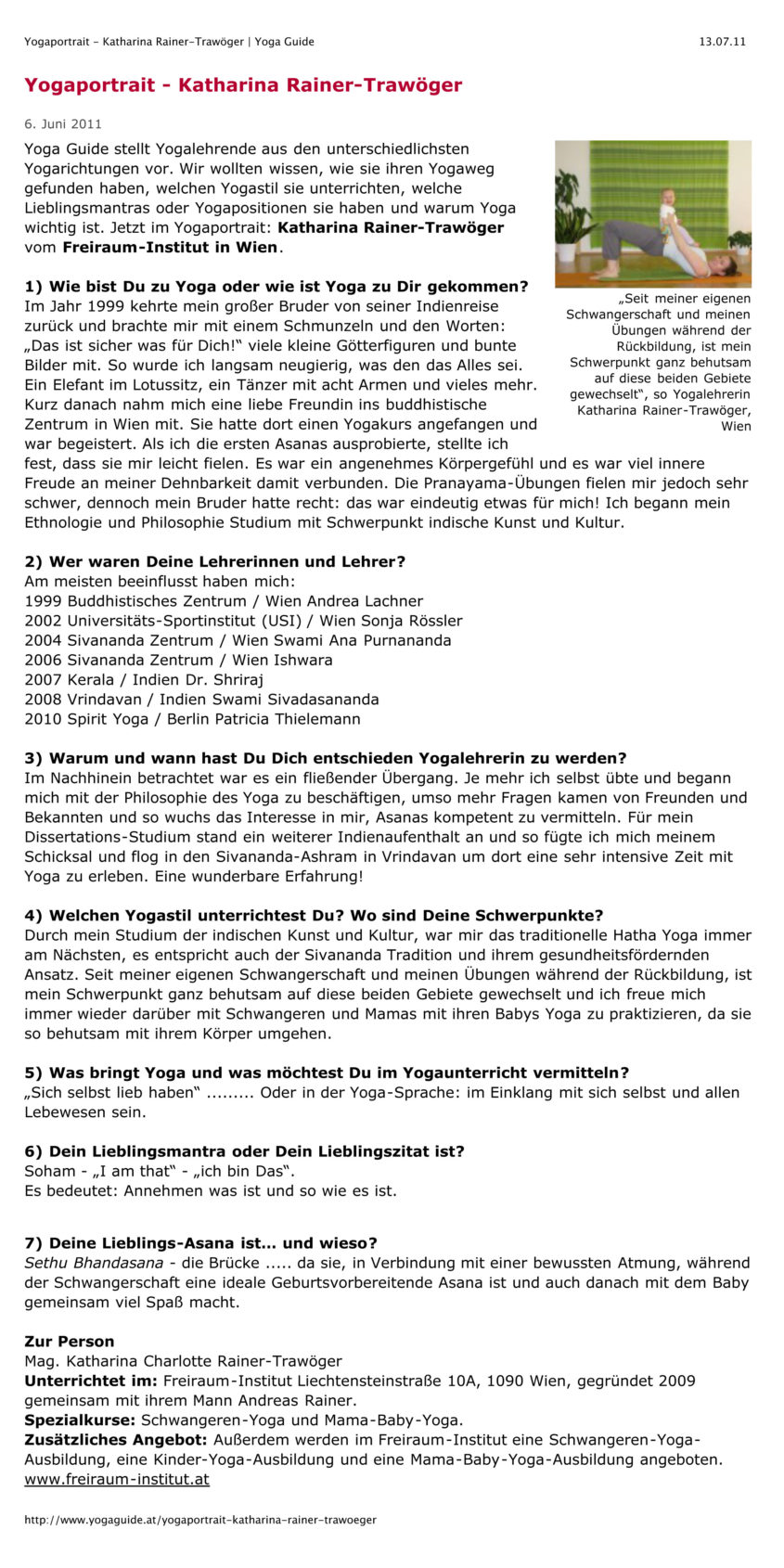 Yogaportrait - Katharina Rainer-Trawöger   Yoga Guide
